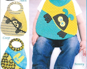 "Pattern ""Monster Babies Bibs"" Paper Sewing Pattern by Vanilla House Designs (P190)"