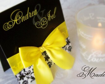 Sample - Black & Yellow Pocket Wedding Invitation with Satin Bow and Damask