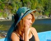 Ladies Steampunk Safari Hat - Elegant Adventure - Green Silk & Veil - Handmade - Pith Helmet Style