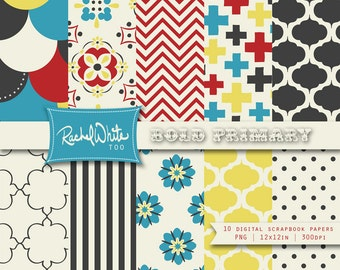 Bold Primary Colors & Patterns 10 Digital Scrapbook Papers - 12x12 in, 300 dpi