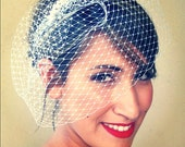 Birdcage veil russian net 9 inch with pearl fascinator.