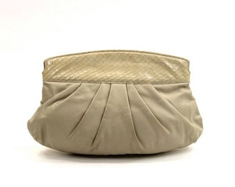 cream leather clutch purse / vintage 80s snake skin convertible shoulder bag