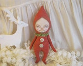 "made to order RED Peppermint Pixie Ornament Red Christmas Decoration Folk Art Doll gift topper ""Red Peppermint Pixie"" themerryghost"