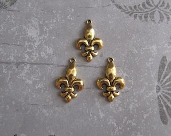 6 Pieces Fleur De Lis Pendant , Gold Fleur De Lis Charms, Fleur Charm 30x19mm Antique Gold 6-1-G