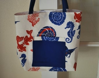 Red, White, & Blue Tropical Print Tote