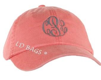 Baseball Hat, Baseball Cap, Monogram Baseball Hat Coral, Personalized Baseball Hat
