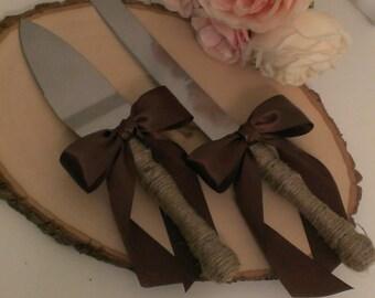 rustic cake knife, country wedding cake serving set, burlap and lace, mason jar wedding, custom color ribbon (K132)