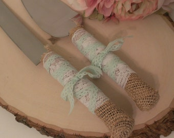 mint wedding wedding cake server and knife burlap and lace wedding cake cutter country serving set (K115)