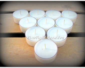 25 Unscented Soy Tealight Candles All Natural Dye Free