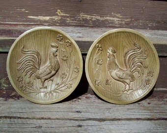 Vintage Chalkware Plaster Rooster Plaques Wall Hangings Set of 2