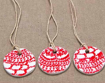 red & white Christmas clay baubles  (5 pack)