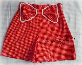 Red Polka Dot Bow Pin Up Style Shorts by BlancheOfArts