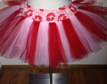 Adult Red and Pink Kisses XOXOXO Valentine TuTu
