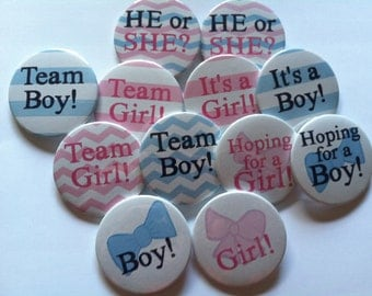"""Gender Reveal Party Buttons - 2.25"""" - set of 12"""