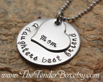 Mothers Day A daughters best friend mom mothers necklace stainless hand stamped personalized jewelry