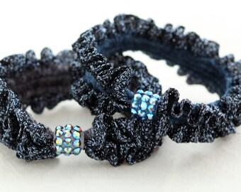 Bluish scrunchie, hair tie, ponytail holder with Swarovski elements crystals,hair band,elastic hair tie