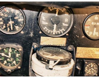 Aviation Photography, Vintage Aircraft Instrument Panel, Metallic Photographic Print