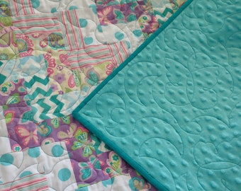 Butterflies and ZigZags Baby Girl Quilt