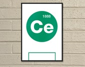 "Essential Elements: ""Celtic"" A4 Football Print in green and white."