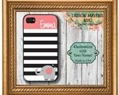 Personalized iPhone Case, Preppy Elephant Stripe Monogram iPhone Case, iPhone 4, iPhone 4s, iPhone 5, iPhone 5s, iPhone 5c, iPhone 6