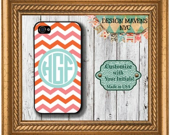 Personalized iPhone Case, Preppy Chevron Aqua Monogram iPhone Case, iPhone 4, 4s, iPhone 5,  5s, iPhone 5c, iPhone 6, 6s, 6 Plus