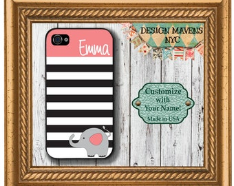 Personalized iPhone Case, Preppy Elephant Stripe Monogram iPhone Case, iPhone 4, iPhone 4s, iPhone 5, iPhone 5s, iPhone 5c, iPhone 6