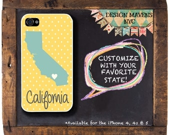 California State Love iPhone Case, Personalized iPhone Case, Fits iPhone 4, 4s, Phone 5, 5s, 5c, iPhone 6, Phone Cover, Phone Case