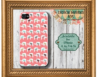 Cute Elephants iPhone Case, Elephant iPhone Case, Gift for her, iPhone 4, 4s, iPhone 5, 5s, 5c, iPhone 6, 6s, 6 Plus, SE, iPhone 7, 7 Plus