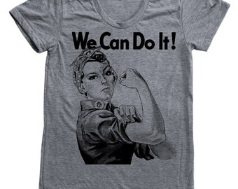 Women Triblend Shirt Rosie the Riveter  Custom Hand Screen Printed American Apparel Available: S, M, L, Xl