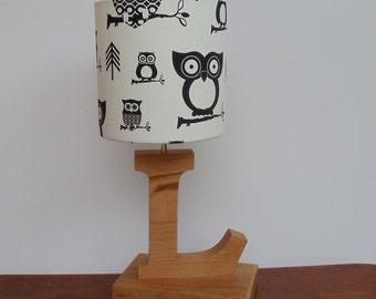 Handmade White/Black Owl Lamp Shade - Great for Nursery or Kid's Room