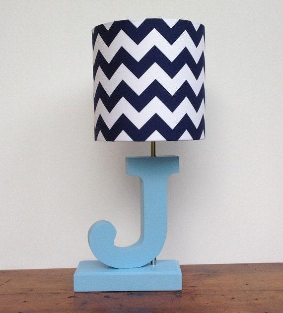 large navy blue white chevron drum lamp shade nursery or. Black Bedroom Furniture Sets. Home Design Ideas