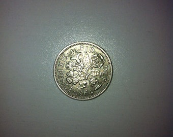 1964 Wedding Sixpence Coin - Lucky Wedding Sixpence for the Bride