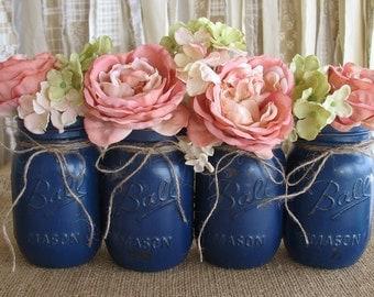 SALE!  Set of 4 Pint Mason Jars,  Painted Mason Jars, Flower Vases, Rustic Wedding Centerpieces, Navy Blue Mason Jars,  Pint Jars