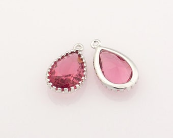 1021012 / Ruby / Rhodium Plated Brass Framed Glass Pendant 9.5mm x 16mm / 0.9g / 2pcs