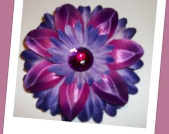 Purple Dark Blue Flower Hair Clip READY to SHIP
