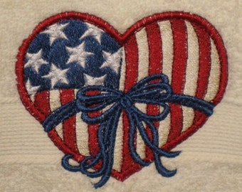 Embroidered Patrotic Hanging 4th of July Towel
