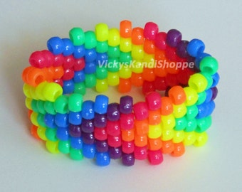 Rainbow Arrows Kandi Cuff