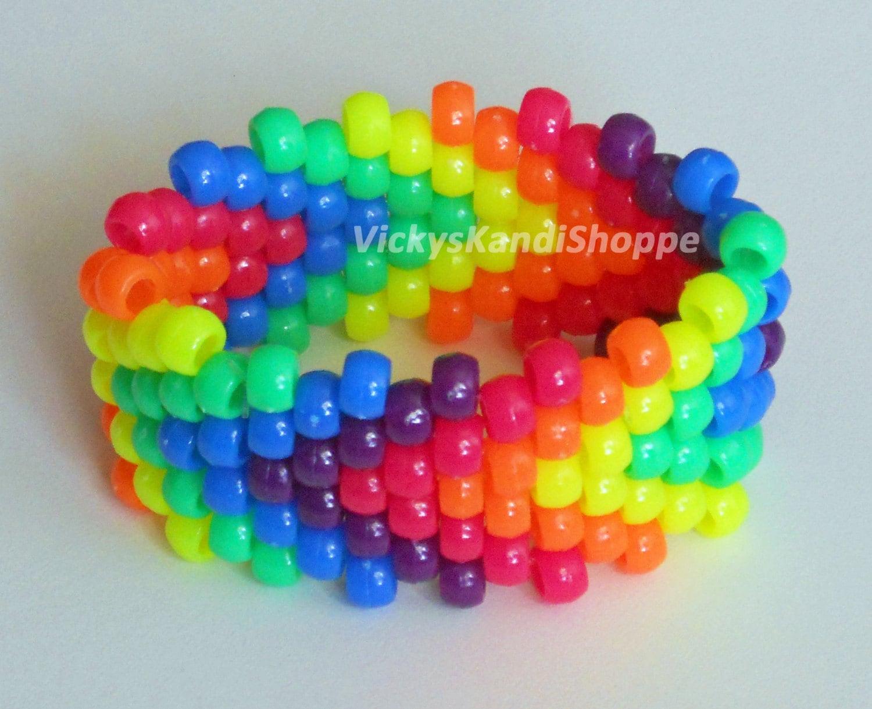 Kandi Pony Beads And Rave: Rainbow Arrows Kandi Cuff