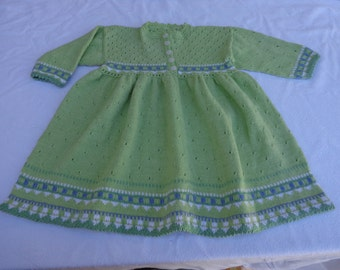 Toddler's Hand Knit Green Dress - size 2-4 years