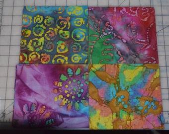 Batik Fat Quarters - 4 Unique Colors - Appox. 1 yard total
