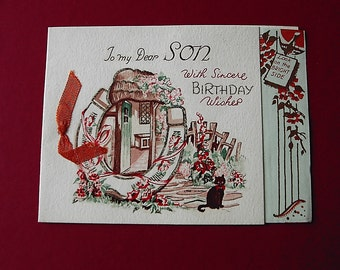 Vintage Birthday card for a son unused no envelope (1950s)