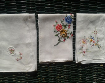 3 French Handkerchief Floral Hand Embroidered Petit Points Handmade Cotton Hand Rolled Tissues #sophieladydeparis