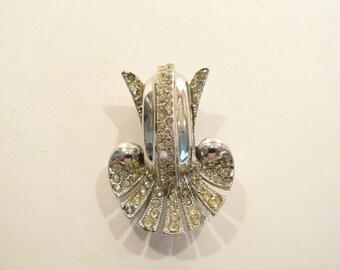 Beautiful High Quality Vtg Art Deco Rhinestone & Rhodium Plated Brooch / Fur Cli