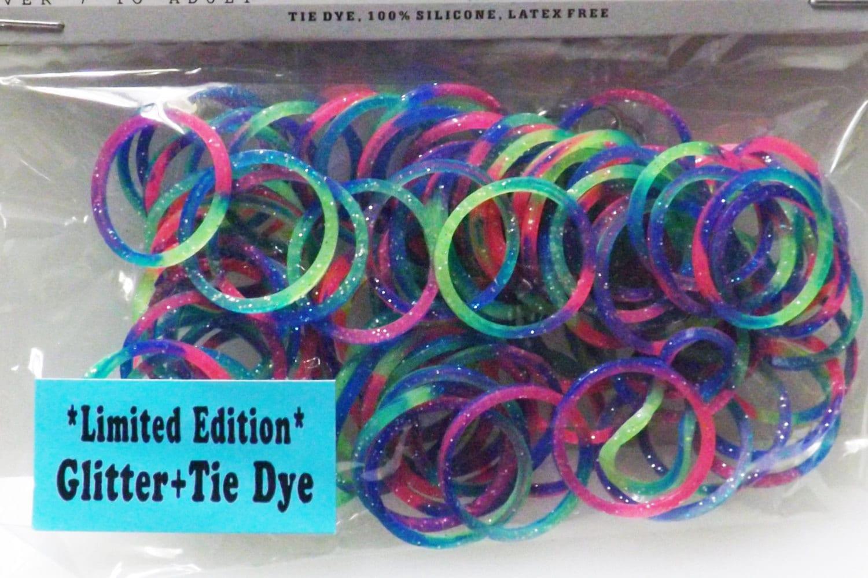 Glitter Loom Rubber Bands Fits Rainbow Loom Tie Dye Blue