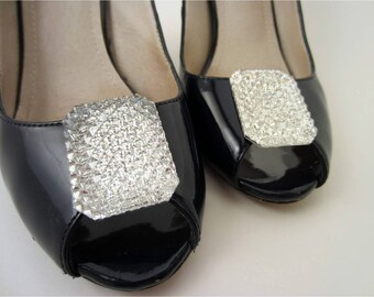 Diamond Shoe Clips, Silver Shoe Clips, Crystal Shoe Buttons, Silver Glitter Shoe Clips, Sparkling Crystal Clip On Shoes, Crystal Shoes