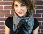Black and White Houndstooth Cowl-Neck Scarf