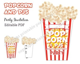 Popcorn and PJs sleepover movie night Invitation - editable PDF - add your own text