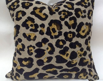 Leopard chenille black and gold decorative pillow slip cover sold with pillow insert