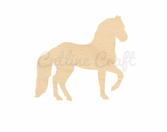 Horse Cutout Crafts, Gift Tags Ornaments Laser Cut Birch Wood Various Sizes, Style 27