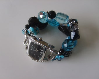 Double Stranded Interchangeable Teal & Black Beaded Watch Band Set (181)